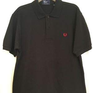 Fred Perry Polo Solid Black w/Red Laurel Wreath